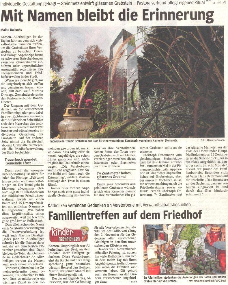 Westfälische Rundschau 1. November 2011